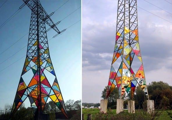 Tрансформация на електрическа кула с цветно стъкло